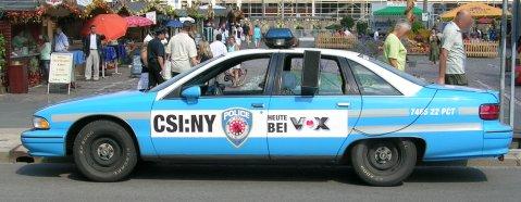 Werbung für CSI NY in Dresden am Altmarkt