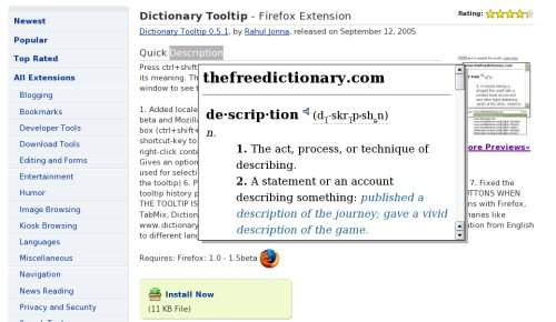 Firefox Plugin: Dictionary Tooltip