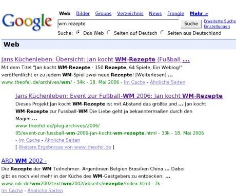 Googeln nach 'wm rezepte': Jan vor ARD auf Platz 1 und 2