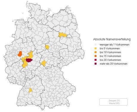 Vorkommen von Theofel in Deutschland