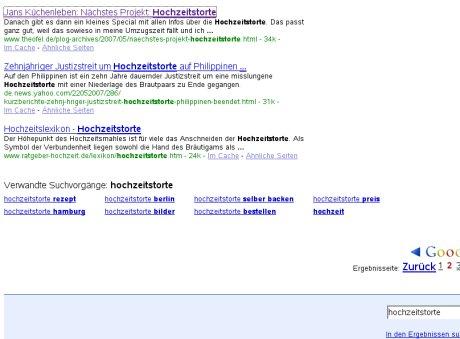 Neues Google-Feature: Suchbeispiel Hochzeitstorte