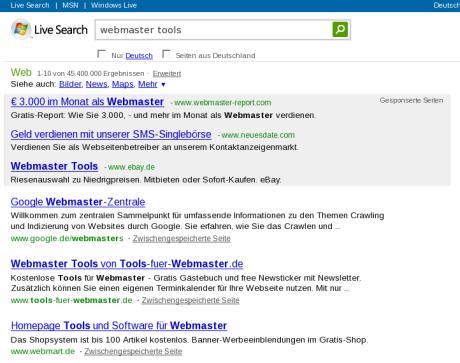 Suche in MSN nach 'Webmaster Tools'