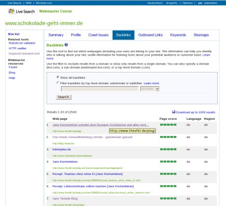 Screenshot: Microsoft Webmaster Tools