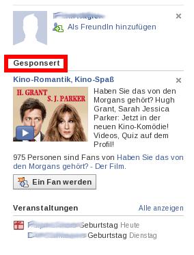 Facebook Werbung: Gesponserte Vorschläge