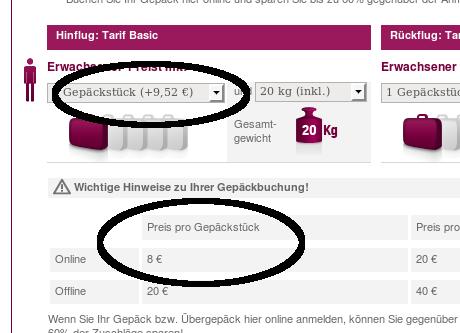 Germanwings: Gleicher preis brutto und netto auf einer Seite