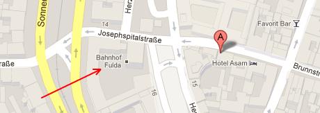 Google Maps: Bahnhof Fulda in München