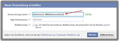 Facebook-Impressum-App: Name festlegen