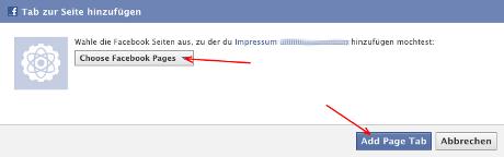 Facebook-Impressum-App: Den Seiten zuweisen