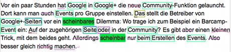 Screenshot eines Beispieltext in Papyrus