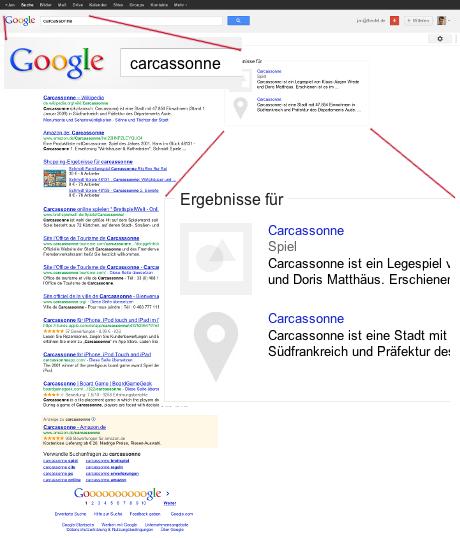 Carcassonne in der Googlesuche