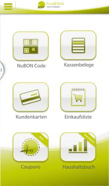 NuBON Screenshot Startbildschirm