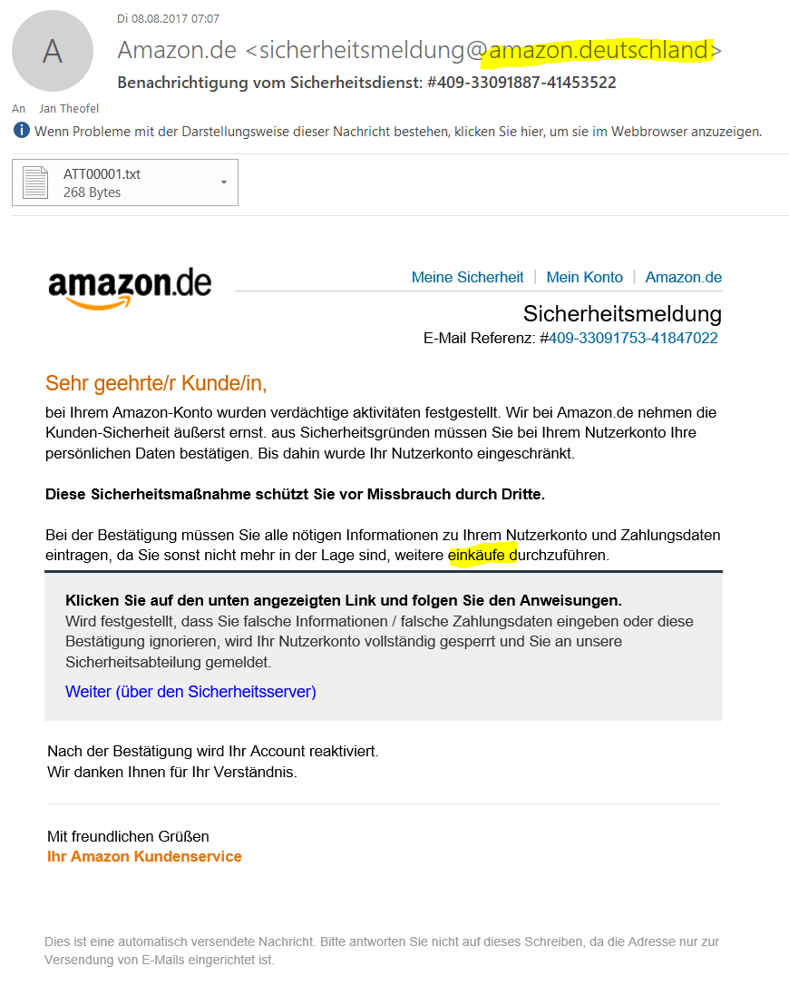 Beispiel: Amazon Phishing Mail