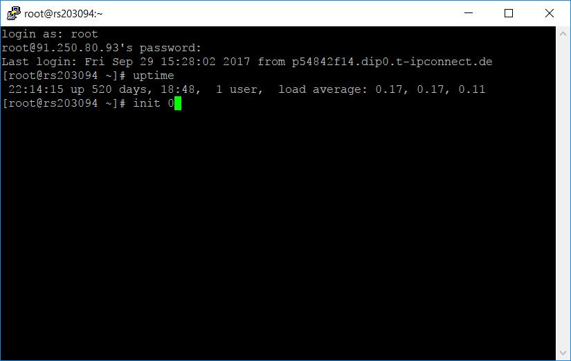 Letztes Serverkommando: init 0