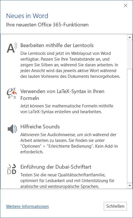 Word unterstützt LaTeX in Formeln