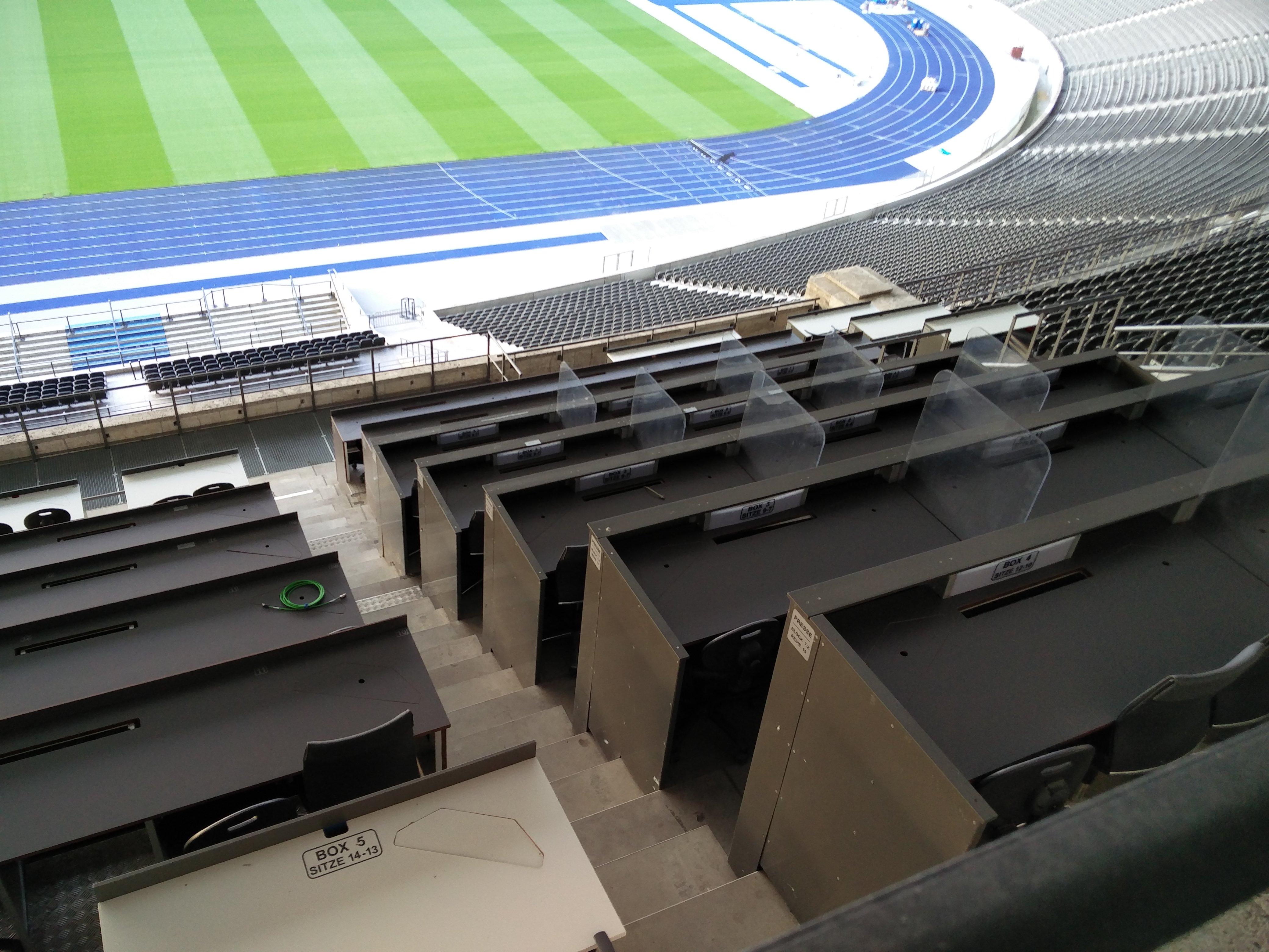 Kommentatorenbühne im Olympiastadion